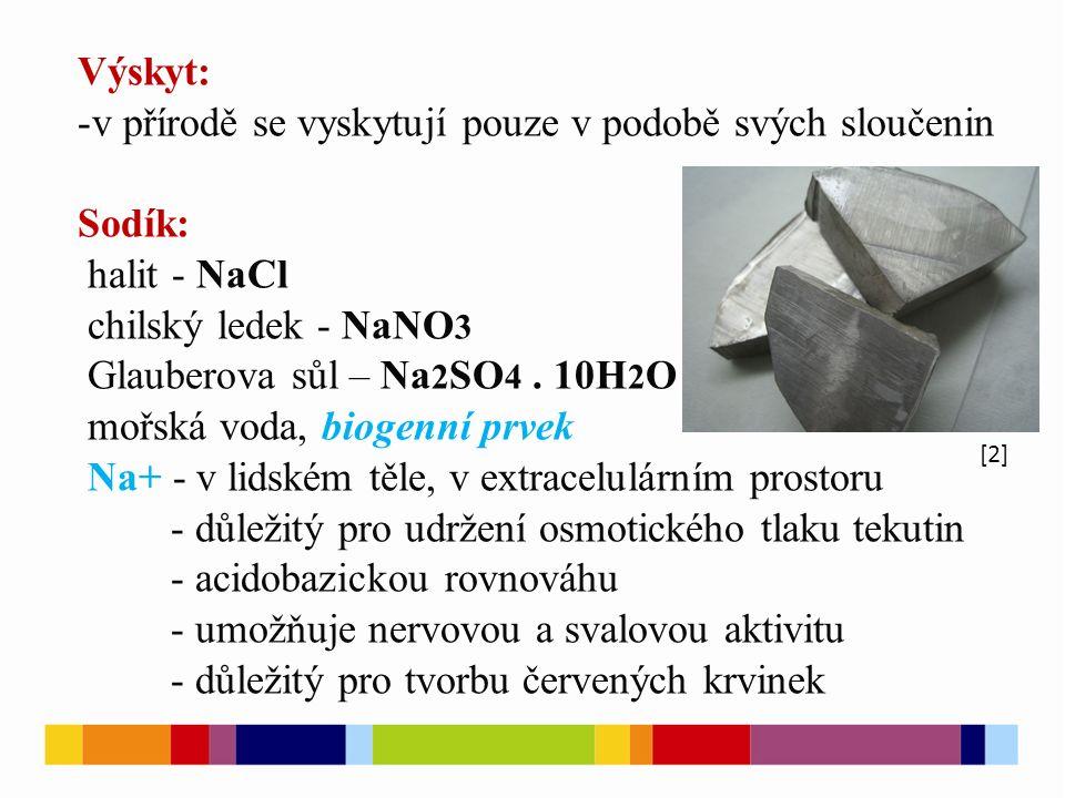 Výskyt: -v přírodě se vyskytují pouze v podobě svých sloučenin Sodík: halit - NaCl chilský ledek - NaNO 3 Glauberova sůl – Na 2 SO 4.