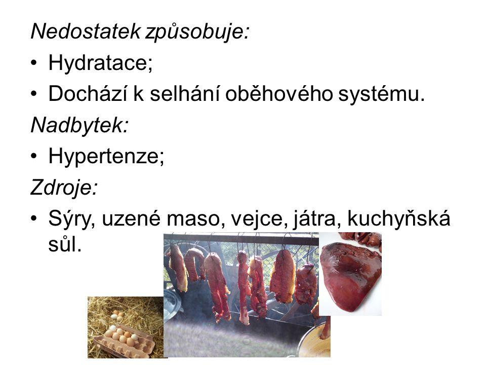 Nedostatek způsobuje: Hydratace; Dochází k selhání oběhového systému.