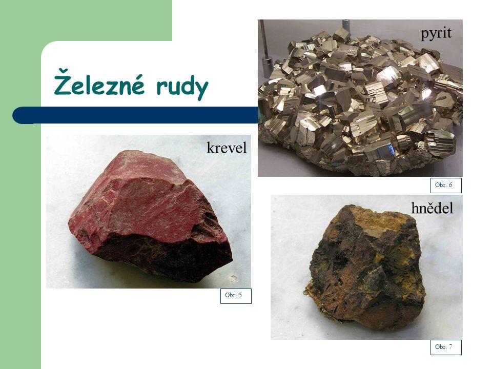 Železné rudy krevel pyrit hnědel Obr. 5 Obr. 6 Obr. 7