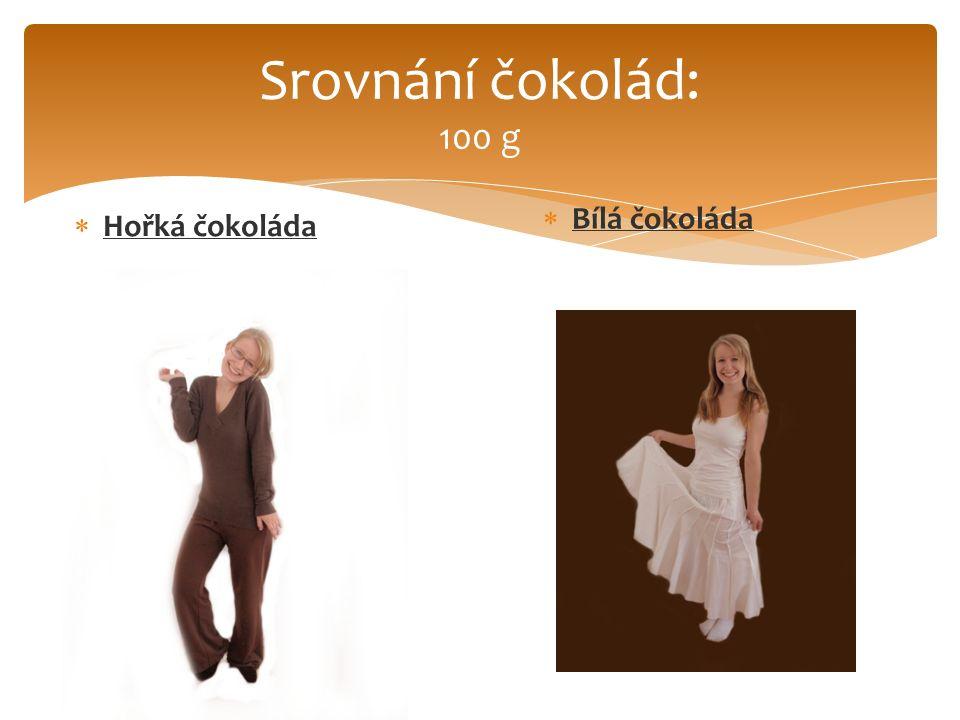 Srovnání čokolád: 100 g  Hořká čokoláda  Bílá čokoláda