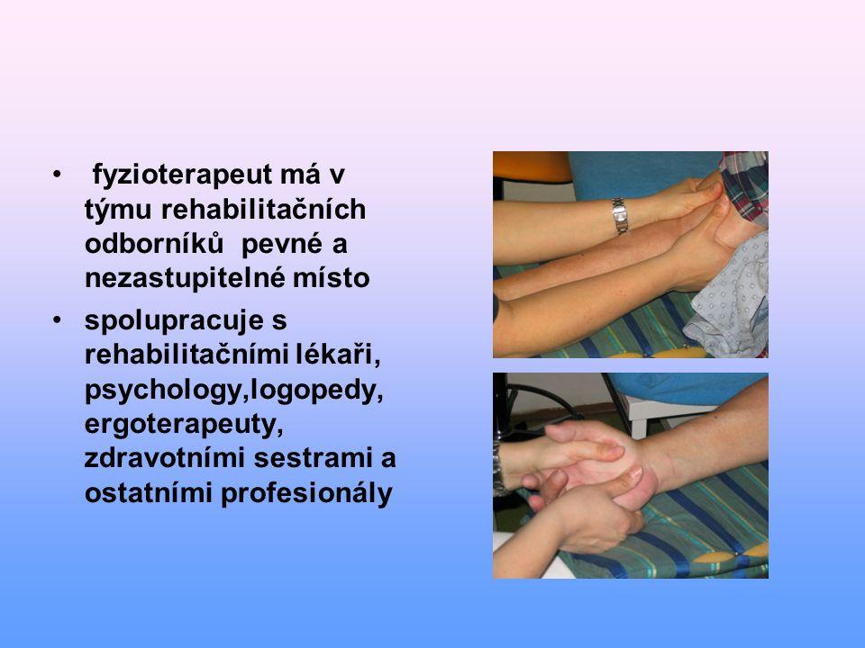 fyzioterapeut má v týmu rehabilitačních odborníků pevné a nezastupitelné místo spolupracuje s rehabilitačními lékaři, psychology,logopedy, ergoterapeuty, zdravotními sestrami a ostatními profesionály