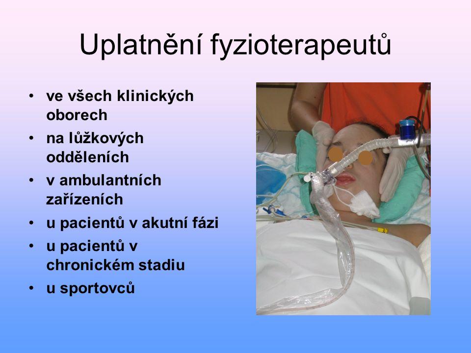 Uplatnění fyzioterapeutů ve všech klinických oborech na lůžkových odděleních v ambulantních zařízeních u pacientů v akutní fázi u pacientů v chronické
