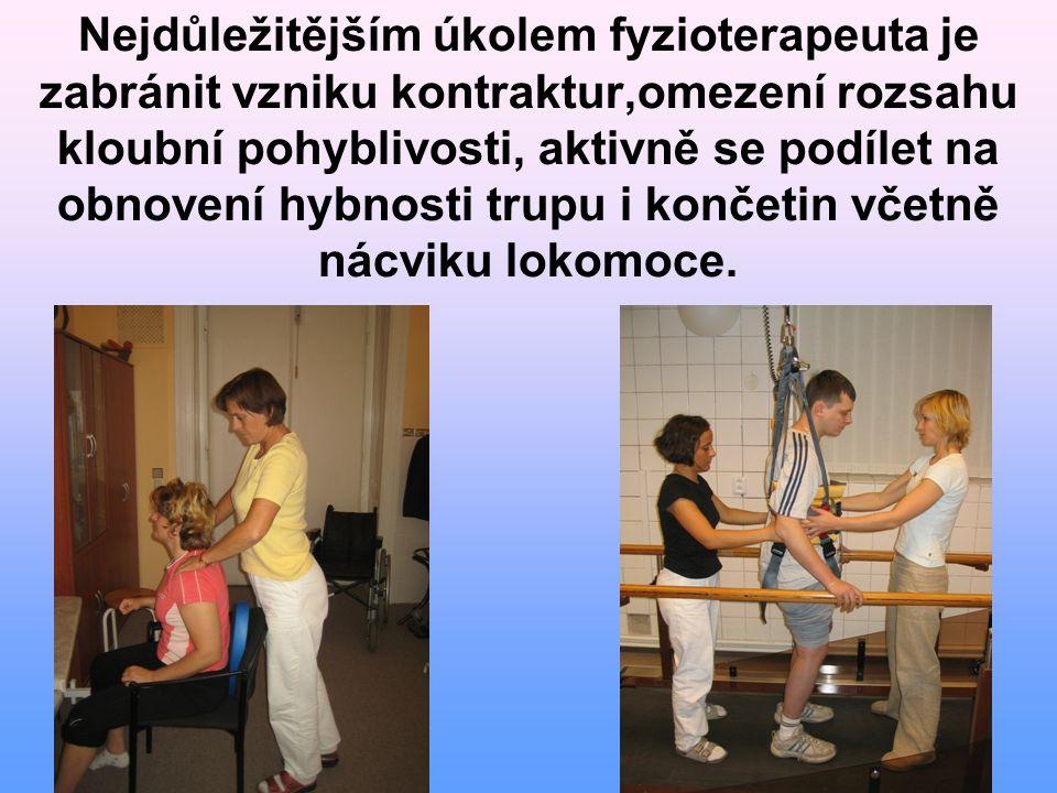 Nejdůležitějším úkolem fyzioterapeuta je zabránit vzniku kontraktur,omezení rozsahu kloubní pohyblivosti, aktivně se podílet na obnovení hybnosti trup