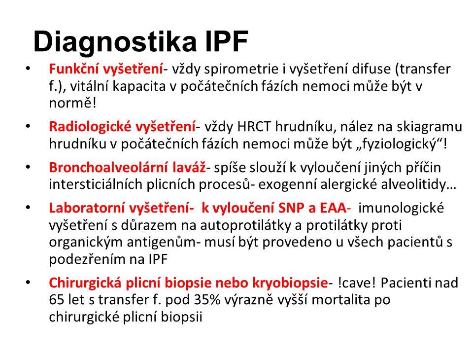 Diagnostika IPF Funkční vyšetření- vždy spirometrie i vyšetření difuse (transfer f.), vitální kapacita v počátečních fázích nemoci může být v normě.