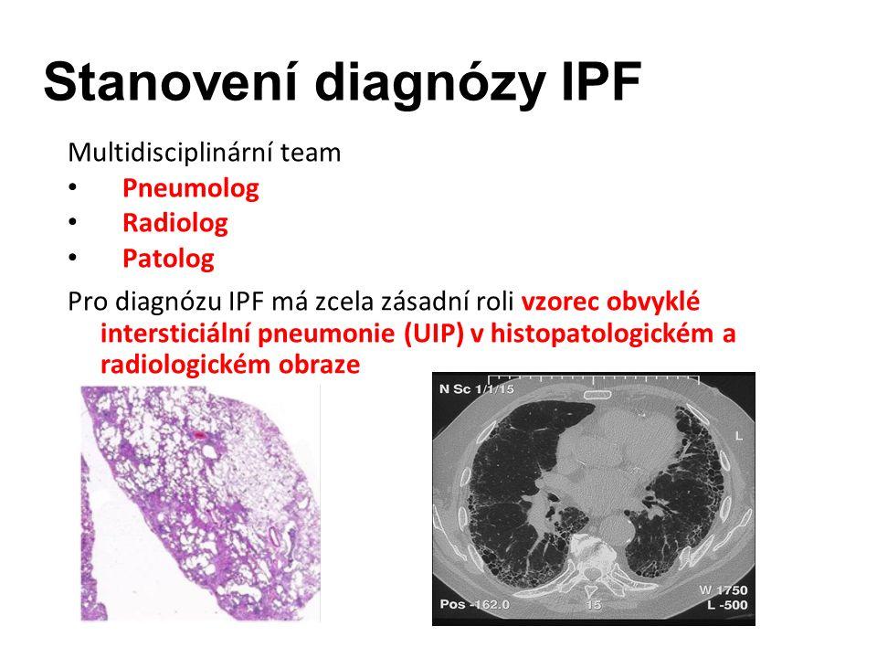 Stanovení diagnózy IPF Multidisciplinární team Pneumolog Radiolog Patolog Pro diagnózu IPF má zcela zásadní roli vzorec obvyklé intersticiální pneumonie (UIP) v histopatologickém a radiologickém obraze