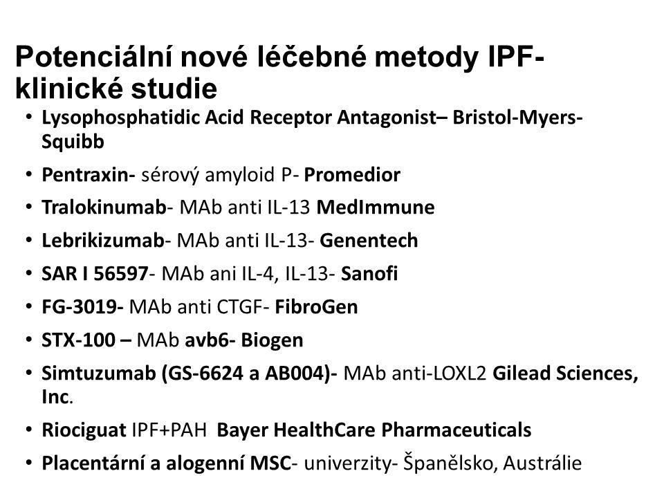 Potenciální nové léčebné metody IPF- klinické studie Lysophosphatidic Acid Receptor Antagonist– Bristol-Myers- Squibb Pentraxin- sérový amyloid P- Promedior Tralokinumab- MAb anti IL-13 MedImmune Lebrikizumab- MAb anti IL-13- Genentech SAR I 56597- MAb ani IL-4, IL-13- Sanofi FG-3019- MAb anti CTGF- FibroGen STX-100 – MAb avb6- Biogen Simtuzumab (GS-6624 a AB004)- MAb anti-LOXL2 Gilead Sciences, Inc.