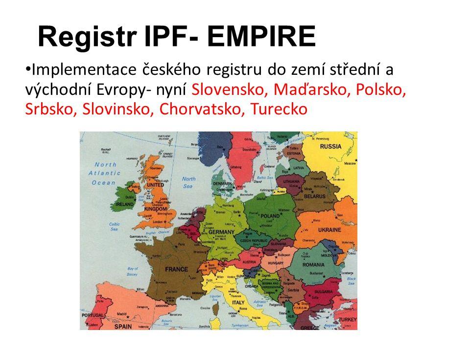 Registr IPF- EMPIRE Implementace českého registru do zemí střední a východní Evropy- nyní Slovensko, Maďarsko, Polsko, Srbsko, Slovinsko, Chorvatsko, Turecko