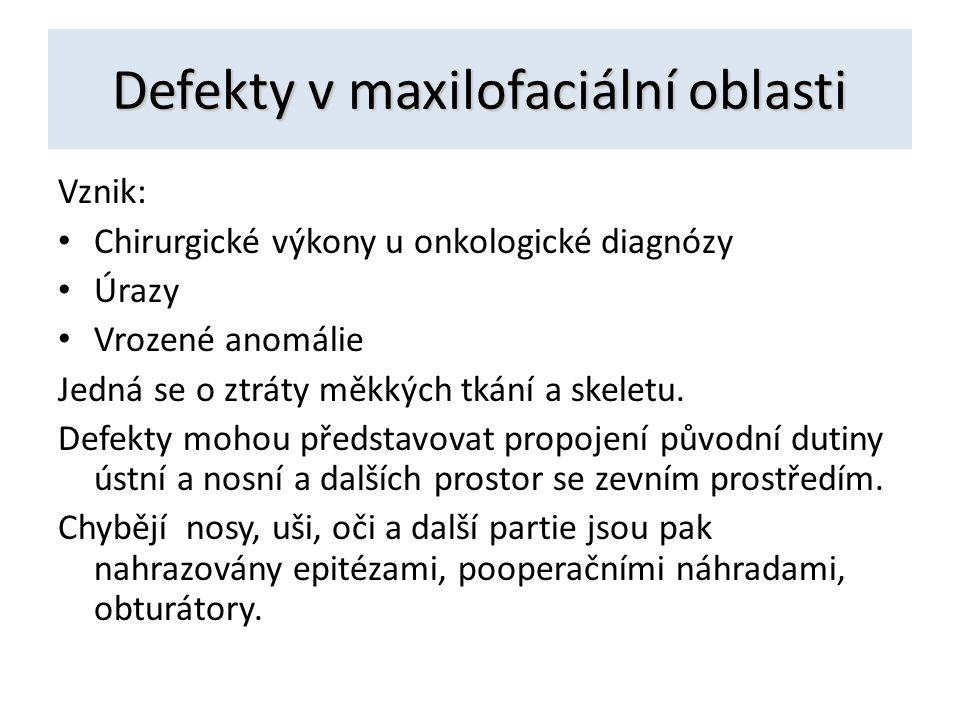 Defekty v maxilofaciální oblasti Vznik: Chirurgické výkony u onkologické diagnózy Úrazy Vrozené anomálie Jedná se o ztráty měkkých tkání a skeletu. De