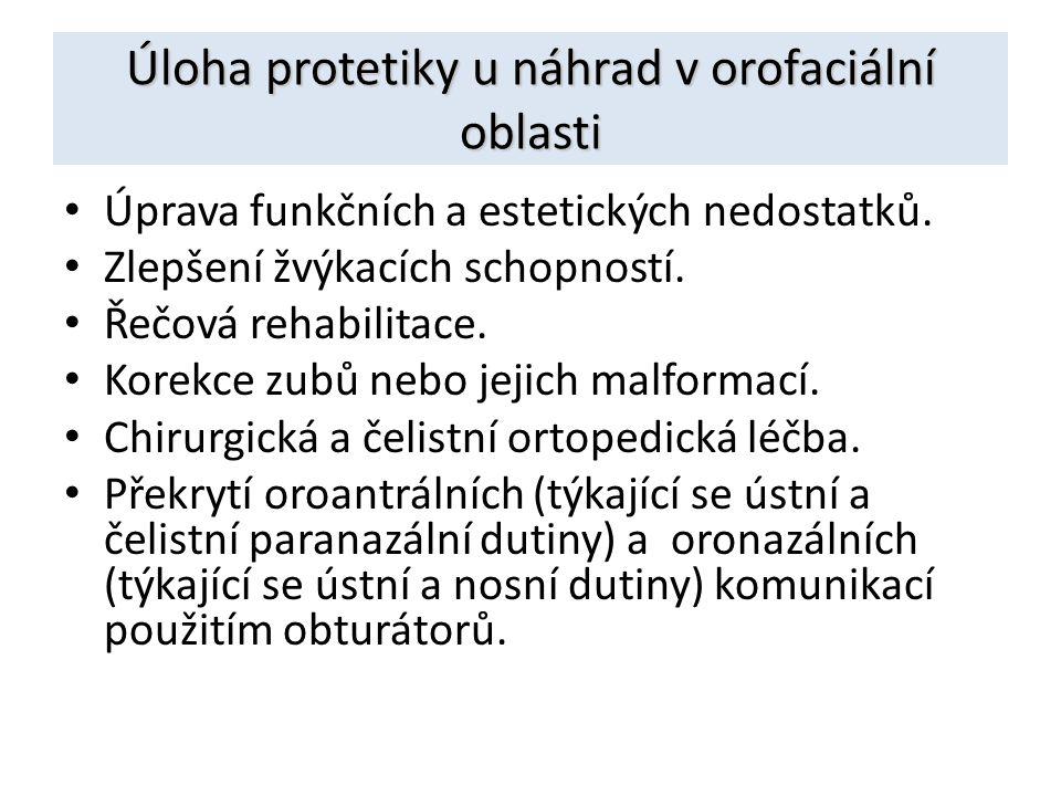 Úloha protetiky u náhrad v orofaciální oblasti Úprava funkčních a estetických nedostatků. Zlepšení žvýkacích schopností. Řečová rehabilitace. Korekce