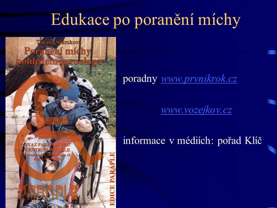Edukace po poranění míchy poradny www.prvnikrok.czwww.prvnikrok.cz www.vozejkov.cz informace v médiích: pořad Klíč