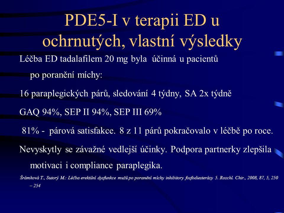 PDE5-I v terapii ED u ochrnutých, vlastní výsledky Léčba ED tadalafilem 20 mg byla účinná u pacientů po poranění míchy: 16 paraplegických párů, sledování 4 týdny, SA 2x týdně GAQ 94%, SEP II 94%, SEP III 69% 81% - párová satisfakce.