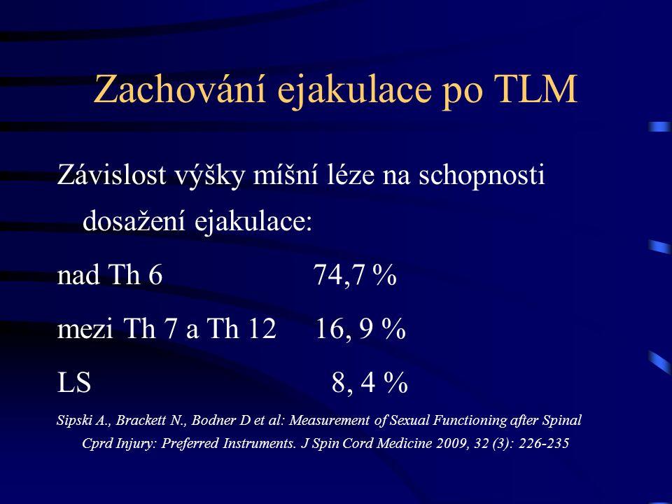 Zachování ejakulace po TLM Závislost výšky míšní léze na schopnosti dosažení ejakulace: nad Th 6 74,7 % mezi Th 7 a Th 12 16, 9 % LS 8, 4 % Sipski A., Brackett N., Bodner D et al: Measurement of Sexual Functioning after Spinal Cprd Injury: Preferred Instruments.