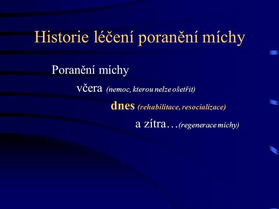 Historie léčení poranění míchy Poranění míchy včera (nemoc, kterou nelze ošetřit) dnes (rehabilitace, resocializace) a zítra… (regenerace míchy)