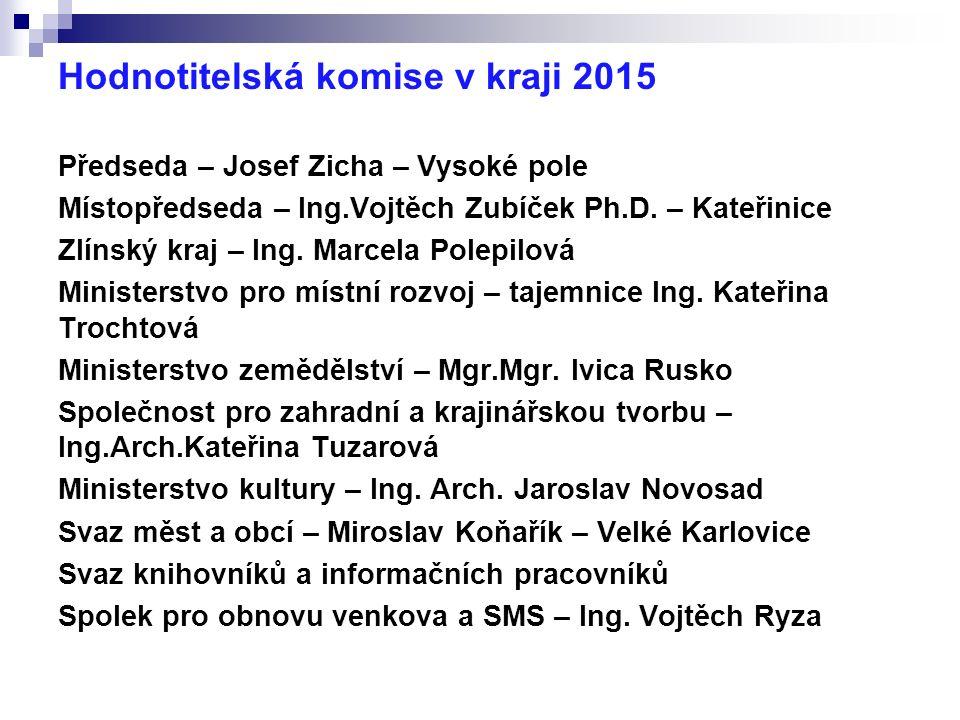 Hodnotitelská komise v kraji 2015 Předseda – Josef Zicha – Vysoké pole Místopředseda – Ing.Vojtěch Zubíček Ph.D.