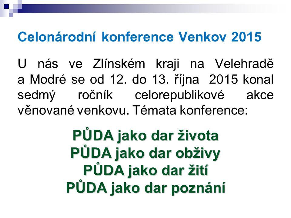 Celonárodní konference Venkov 2015 U nás ve Zlínském kraji na Velehradě a Modré se od 12. do 13. října 2015 konal sedmý ročník celorepublikové akce vě