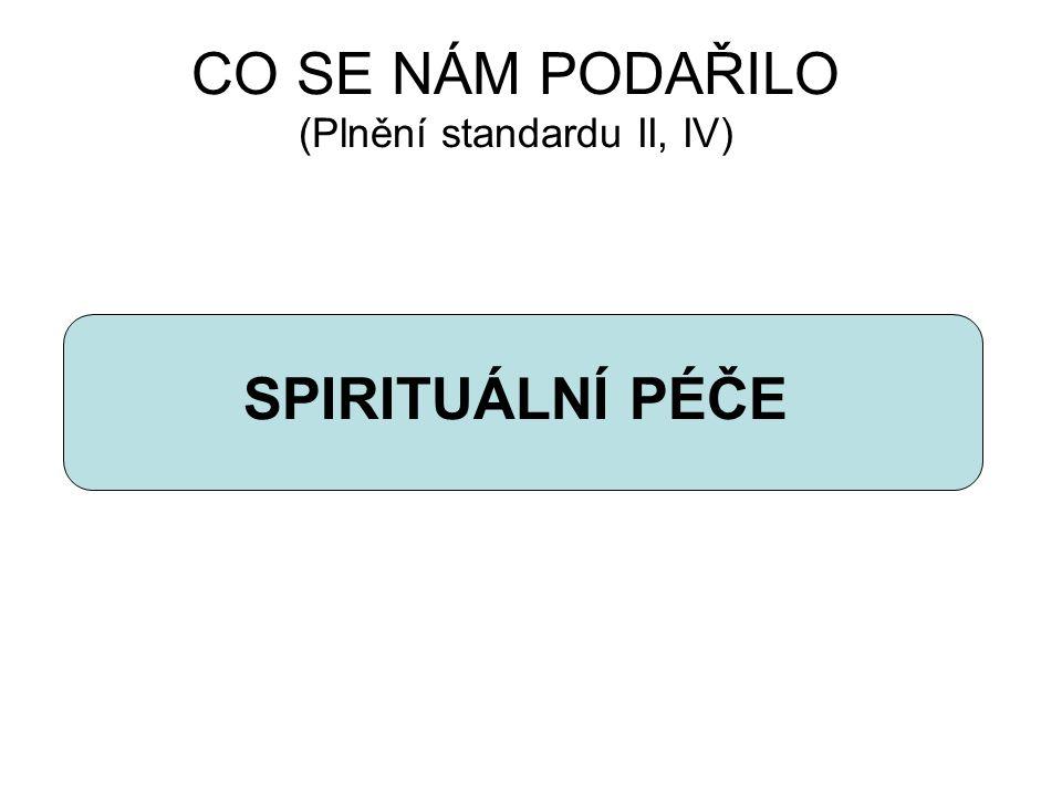 CO SE NÁM PODAŘILO (Plnění standardu II, IV) SPIRITUÁLNÍ PÉČE
