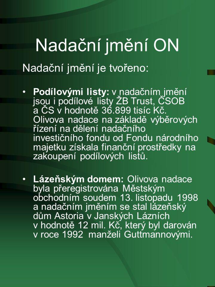 Nadační jmění ON Nadační jmění je tvořeno: Podílovými listy: v nadačním jmění jsou i podílové listy ŽB Trust, ČSOB a ČS v hodnotě 36.899 tisíc Kč.