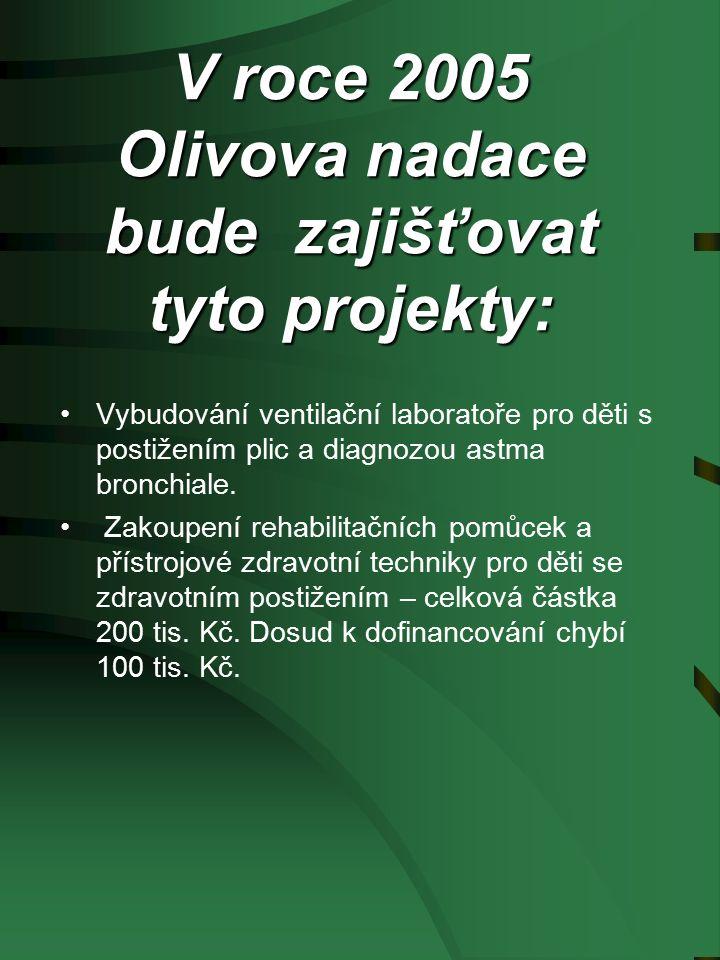 V roce 2005 Olivova nadace bude zajišťovat tyto projekty: Vybudování ventilační laboratoře pro děti s postižením plic a diagnozou astma bronchiale.