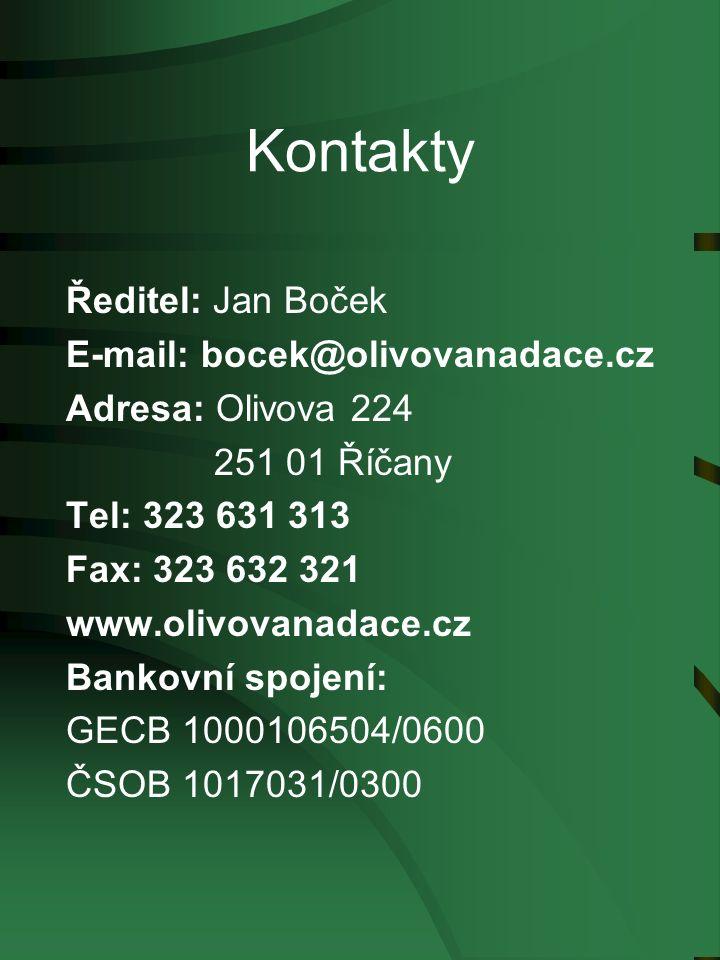 Kontakty Ředitel: Jan Boček E-mail: bocek@olivovanadace.cz Adresa: Olivova 224 251 01 Říčany Tel: 323 631 313 Fax: 323 632 321 www.olivovanadace.cz Bankovní spojení: GECB 1000106504/0600 ČSOB 1017031/0300