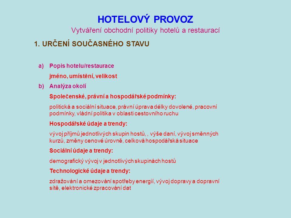 HOTELOVÝ PROVOZ Vytváření obchodní politiky hotelů a restaurací 1.
