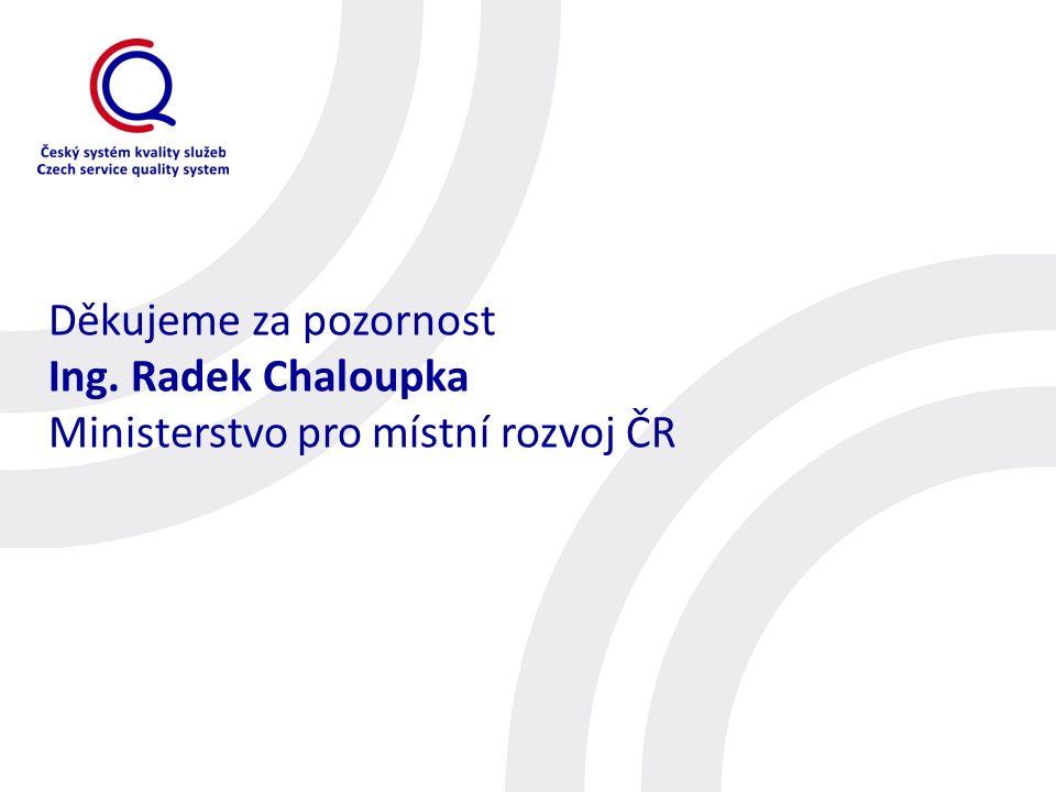 Děkujeme za pozornost Ing. Radek Chaloupka Ministerstvo pro místní rozvoj ČR