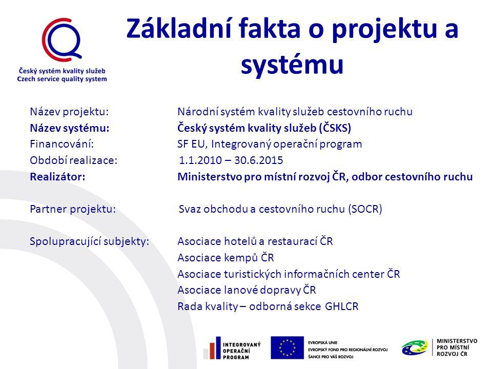 Základní fakta o projektu a systému Název projektu: Národní systém kvality služeb cestovního ruchu Název systému:Český systém kvality služeb (ČSKS) Fi