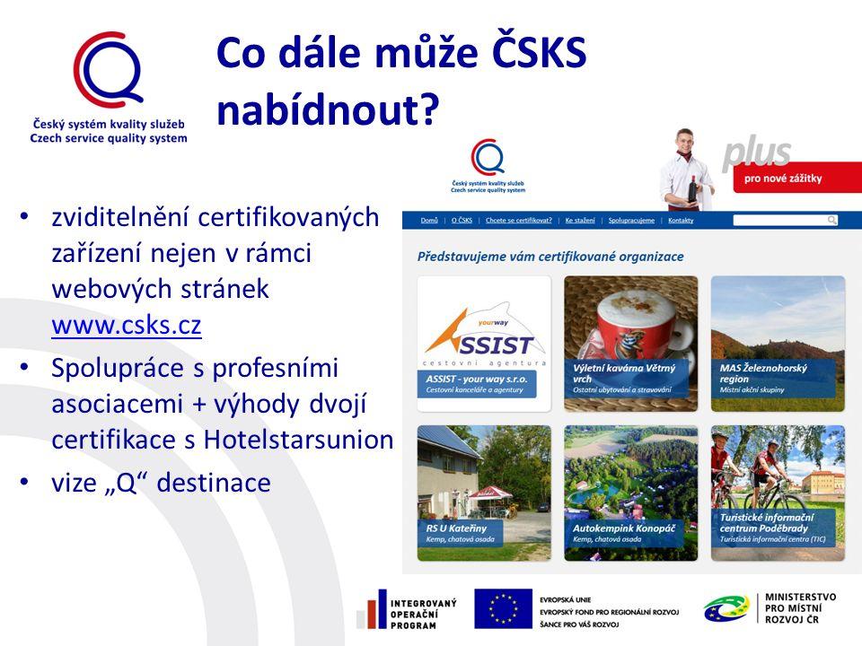 Co dále může ČSKS nabídnout? zviditelnění certifikovaných zařízení nejen v rámci webových stránek www.csks.cz www.csks.cz Spolupráce s profesními asoc