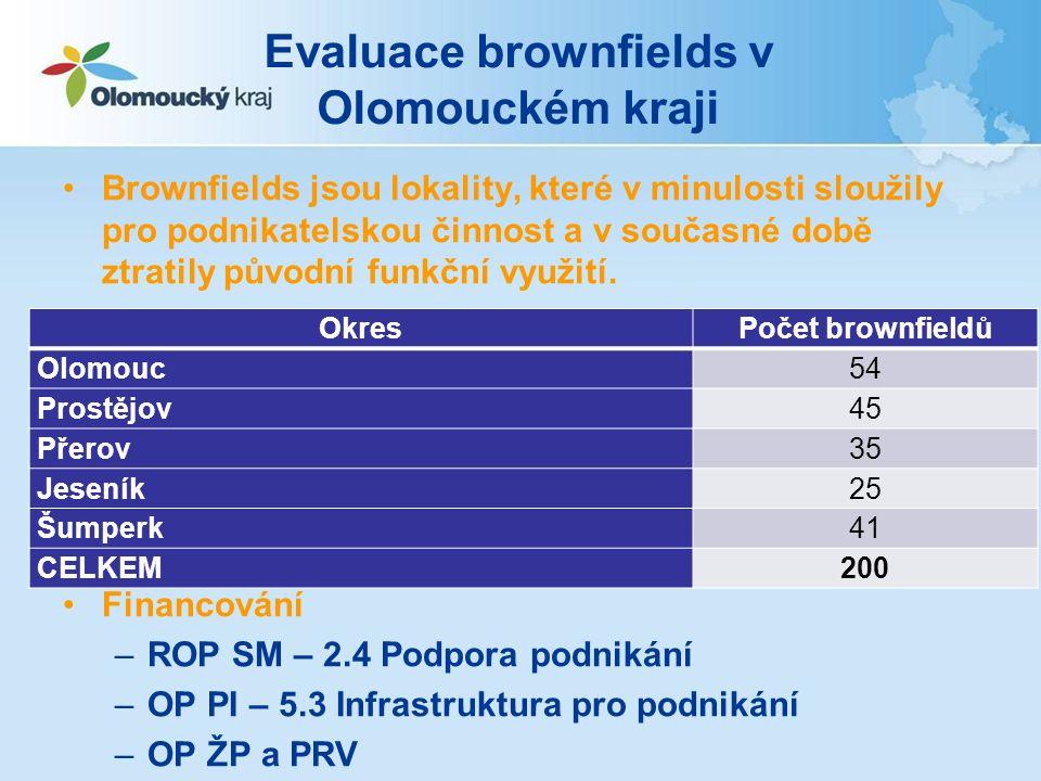 Evaluace brownfields v Olomouckém kraji Brownfields jsou lokality, které v minulosti sloužily pro podnikatelskou činnost a v současné době ztratily původní funkční využití.