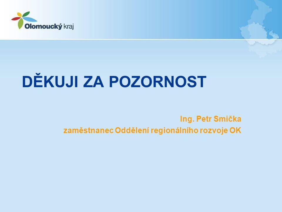 DĚKUJI ZA POZORNOST Ing. Petr Smička zaměstnanec Oddělení regionálního rozvoje OK