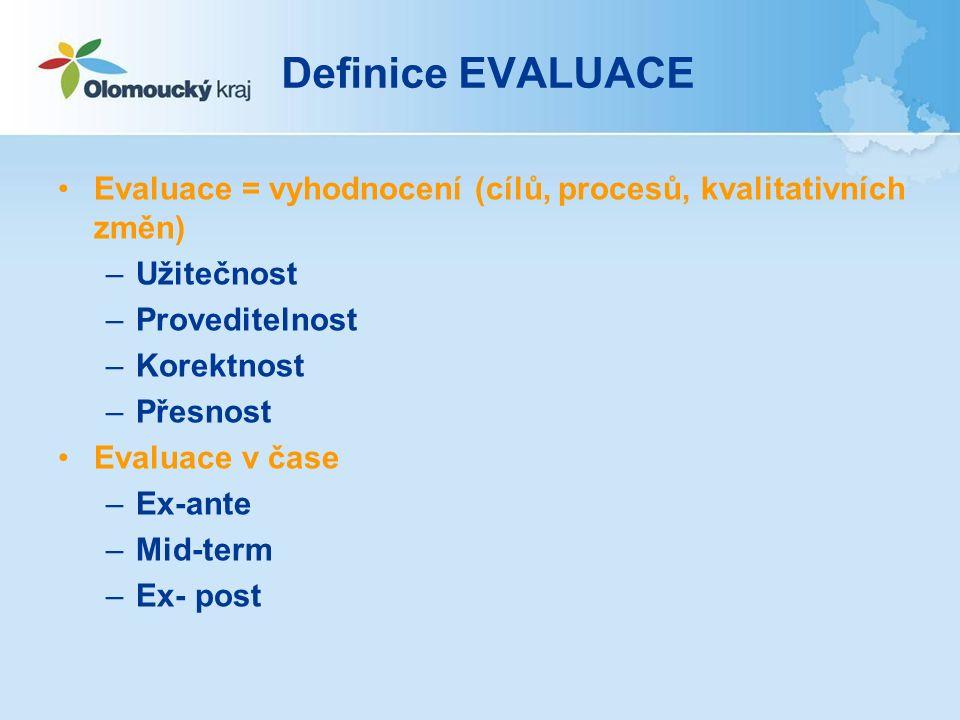 Definice EVALUACE Evaluace = vyhodnocení (cílů, procesů, kvalitativních změn) –Užitečnost –Proveditelnost –Korektnost –Přesnost Evaluace v čase –Ex-ante –Mid-term –Ex- post