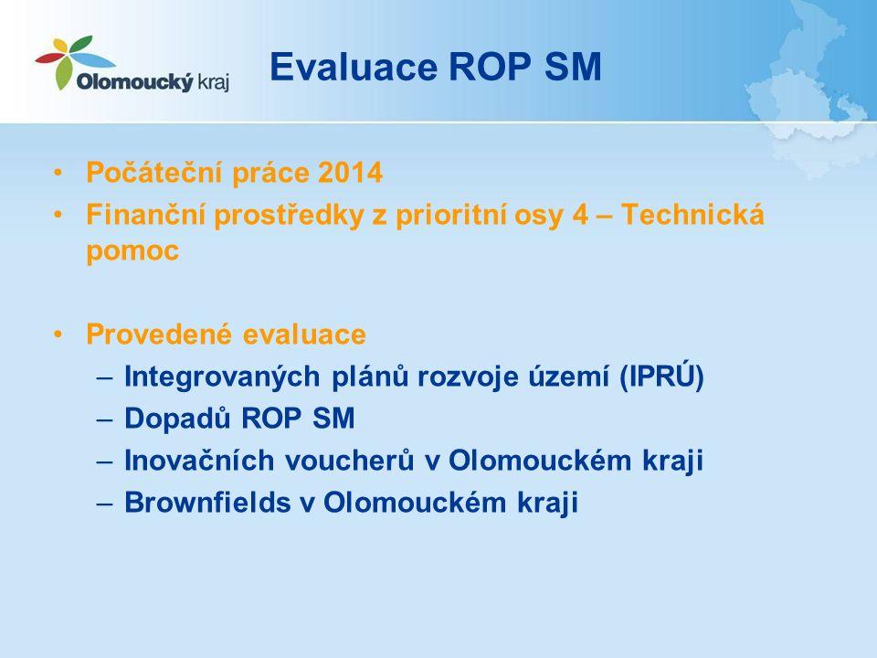 Evaluace ROP SM Počáteční práce 2014 Finanční prostředky z prioritní osy 4 – Technická pomoc Provedené evaluace –Integrovaných plánů rozvoje území (IPRÚ) –Dopadů ROP SM –Inovačních voucherů v Olomouckém kraji –Brownfields v Olomouckém kraji