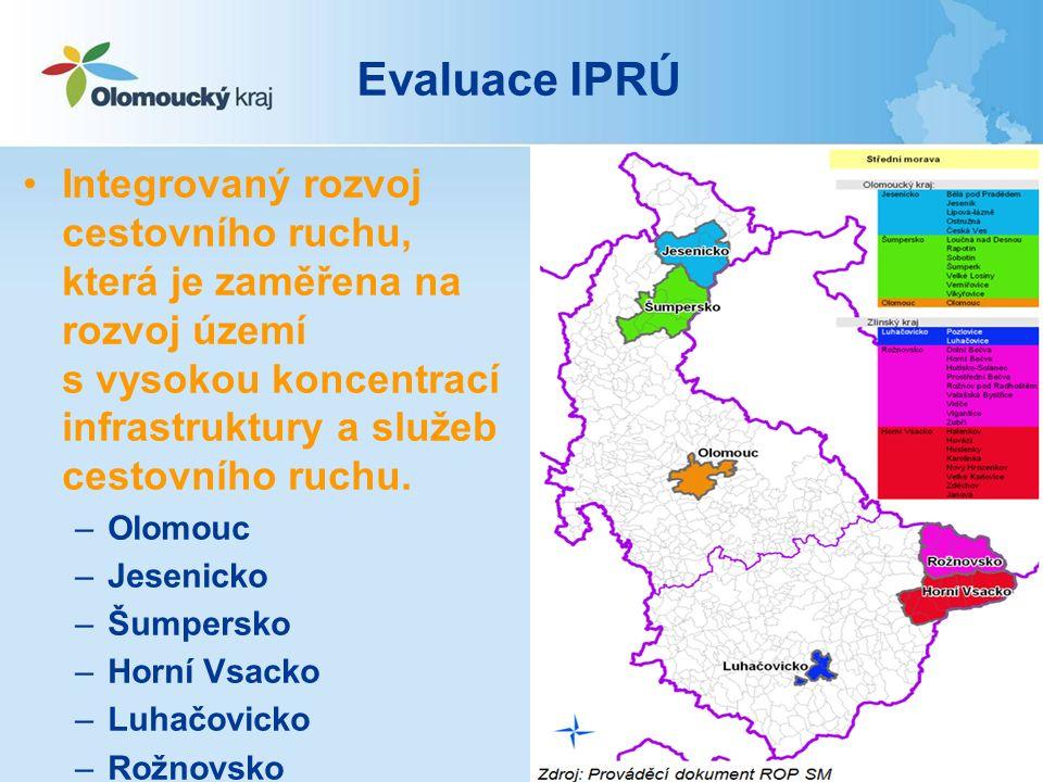 Evaluace IPRÚ Integrovaný rozvoj cestovního ruchu, která je zaměřena na rozvoj území s vysokou koncentrací infrastruktury a služeb cestovního ruchu.