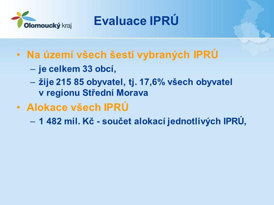 Evaluace IPRÚ Na území všech šesti vybraných IPRÚ –je celkem 33 obcí, –žije 215 85 obyvatel, tj.