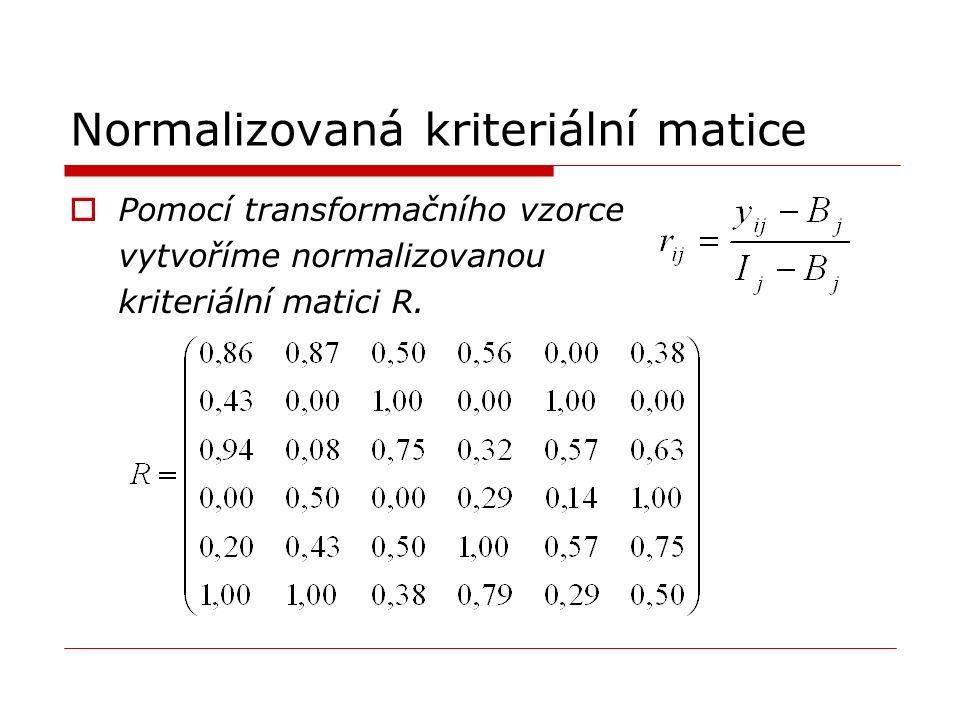 Normalizovaná kriteriální matice  Pomocí transformačního vzorce vytvoříme normalizovanou kriteriální matici R.