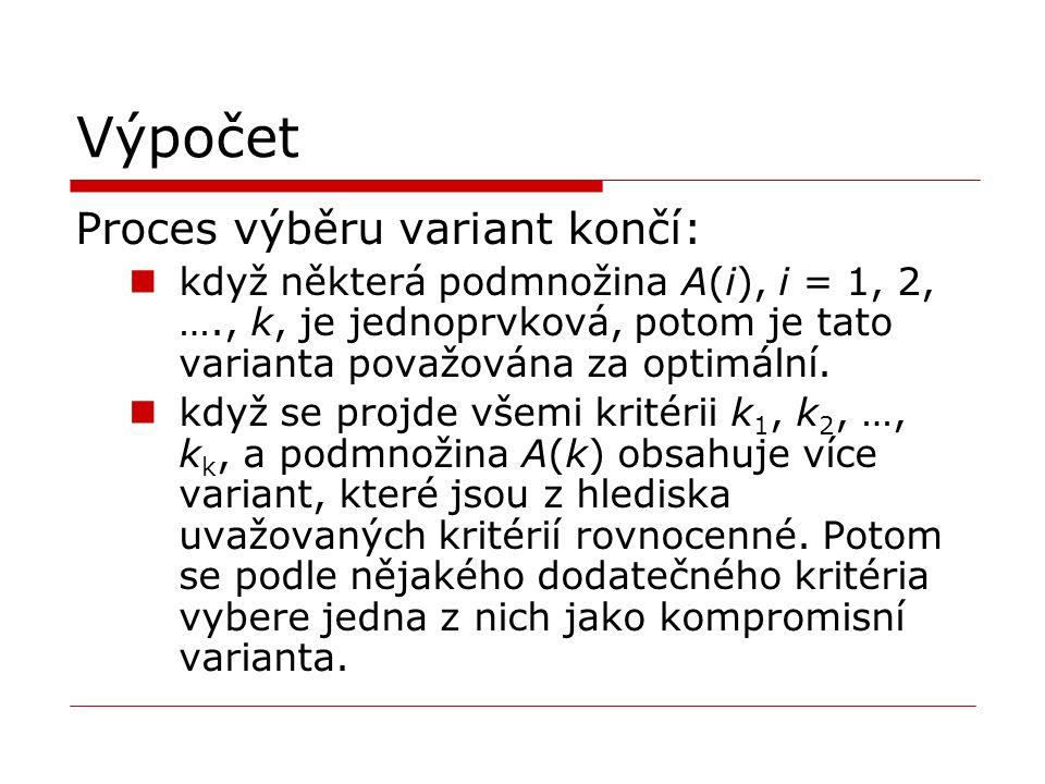 Výpočet Proces výběru variant končí: když některá podmnožina A(i), i = 1, 2, …., k, je jednoprvková, potom je tato varianta považována za optimální.