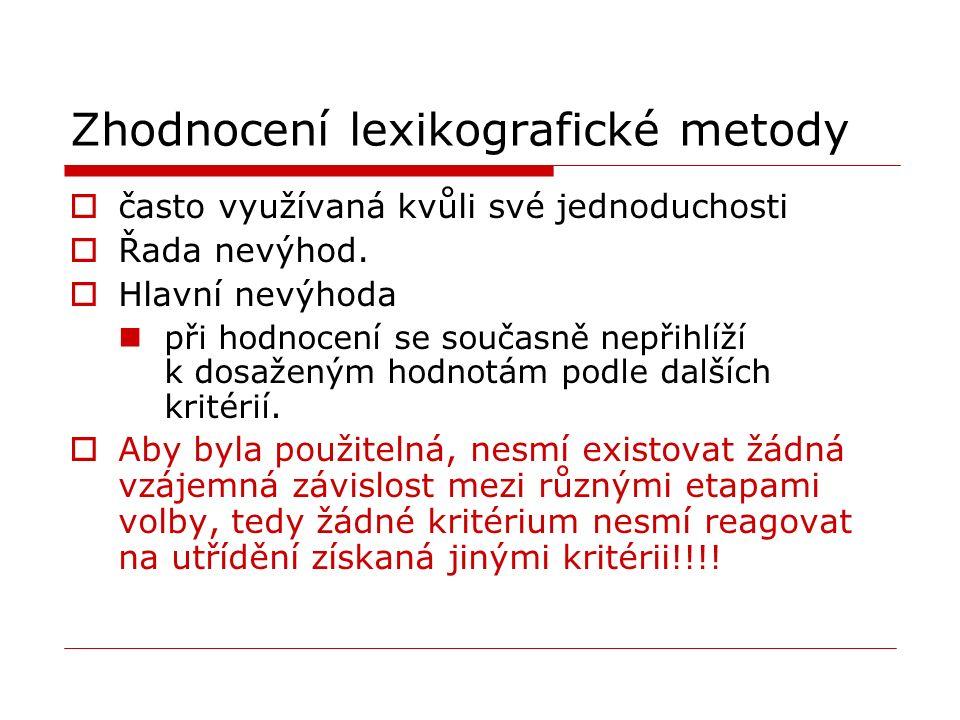 Zhodnocení lexikografické metody  často využívaná kvůli své jednoduchosti  Řada nevýhod.