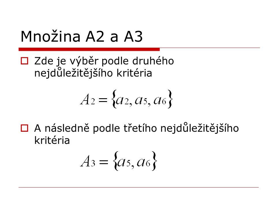 Množina A2 a A3  Zde je výběr podle druhého nejdůležitějšího kritéria  A následně podle třetího nejdůležitějšího kritéria