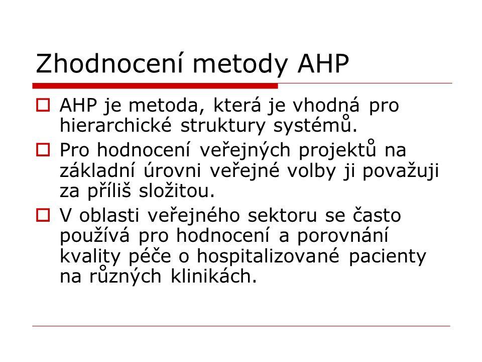 Zhodnocení metody AHP  AHP je metoda, která je vhodná pro hierarchické struktury systémů.