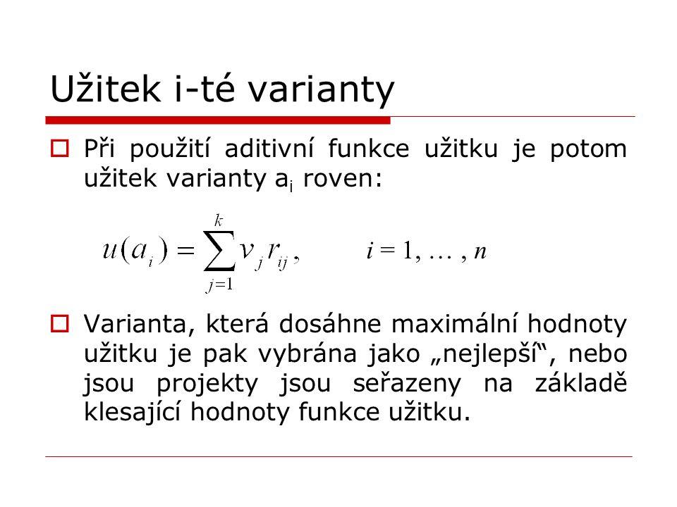 """Užitek i-té varianty  Při použití aditivní funkce užitku je potom užitek varianty a i roven: i = 1, …, n  Varianta, která dosáhne maximální hodnoty užitku je pak vybrána jako """"nejlepší , nebo jsou projekty jsou seřazeny na základě klesající hodnoty funkce užitku."""