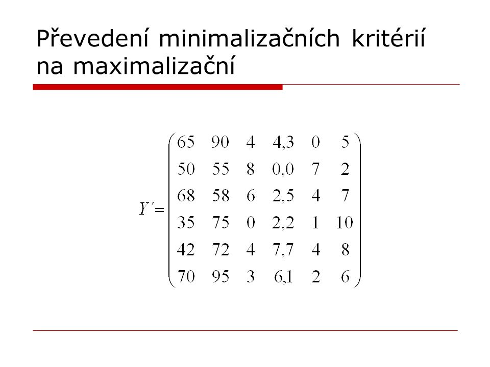 Převedení minimalizačních kritérií na maximalizační