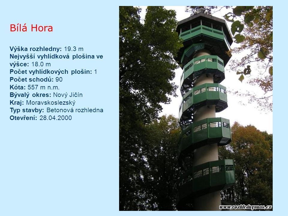 Hláska Typ/materiál: kamenná rozhledna s dřevěnou nástavbou; Lokalita: Růžový vrch na jižním okraji městečka Hora Svaté Kateřiny, cca 25km severozápadně od Mostu (50°36 12.554 N, 13°26 35.271 E); Nadmořská výška: 729m; Okres: Most; Oficiální zpřístupnění: 17.