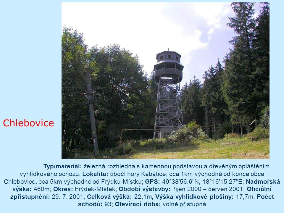 Beroun Výška rozhledny: 15.0 m Nejvyšší vyhlídková plošina ve výšce: 11.0 m Počet vyhlídkových plošin: 1 Počet schodů: 66 Kóta: 290 m n.m. Bývalý okre