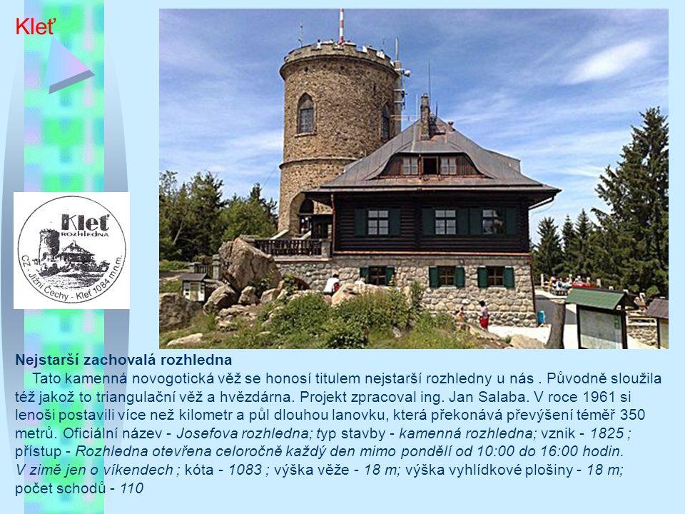 Chlebovice Typ/materiál: železná rozhledna s kamennou podstavou a dřevěným opláštěním vyhlídkového ochozu; Lokalita: úbočí hory Kabátice, cca 1km východně od konce obce Chlebovice, cca 5km východně od Frýdku-Místku; GPS: 49°38 56.6 N, 18°16 15.27 E; Nadmořská výška: 460m; Okres: Frýdek-Místek; Období výstavby: říjen 2000 – červen 2001; Oficiální zpřístupnění: 29.