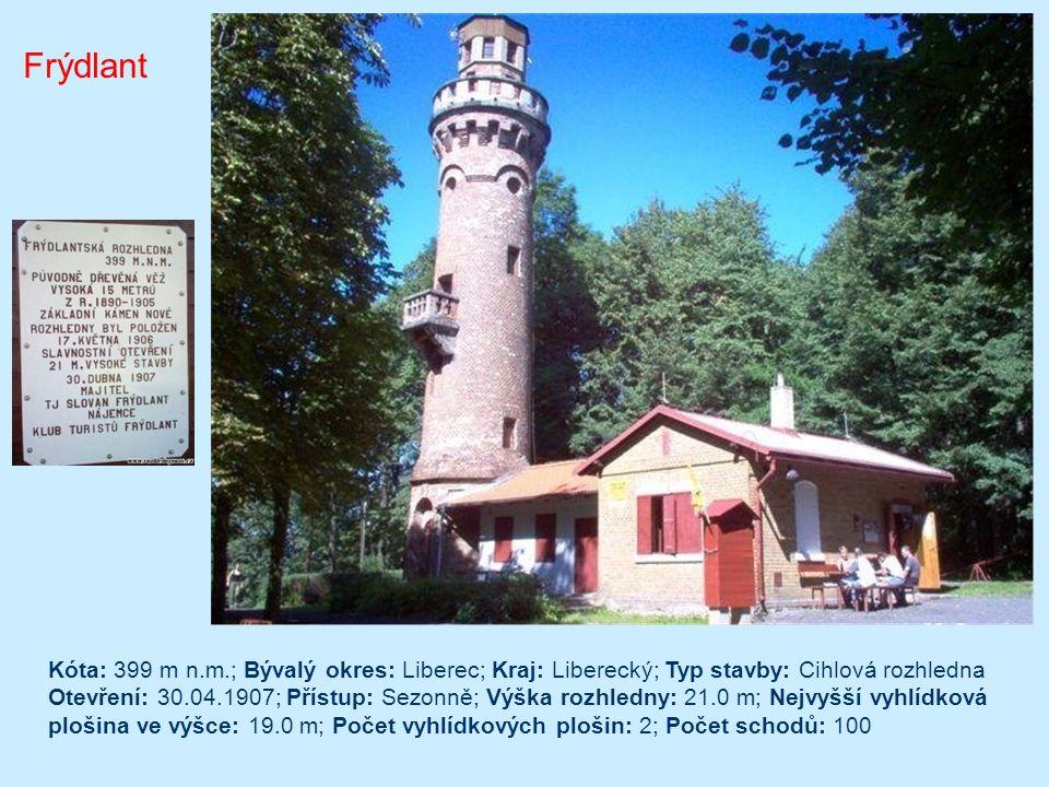Černá Studnice Typ/materiál: kamenná rozhledna; Lokalita: hora Černá Studnice, cca 7km východně od Jablonce n. N.; GPS: 50°42'42.224