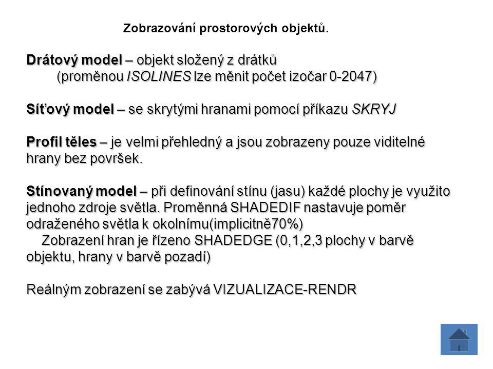 Zobrazování prostorových objektů. Drátový model – objekt složený z drátků (proměnou ISOLINES lze měnit počet izočar 0-2047) (proměnou ISOLINES lze měn