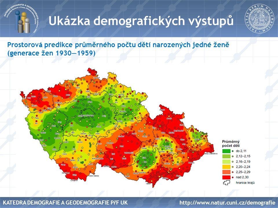 Název Ukázka demografických výstupů Prostorová predikce průměrného počtu dětí narozených jedné ženě (generace žen 1930—1959) http://www.natur.cuni.cz/demografieKATEDRA DEMOGRAFIE A GEODEMOGRAFIE PřF UK