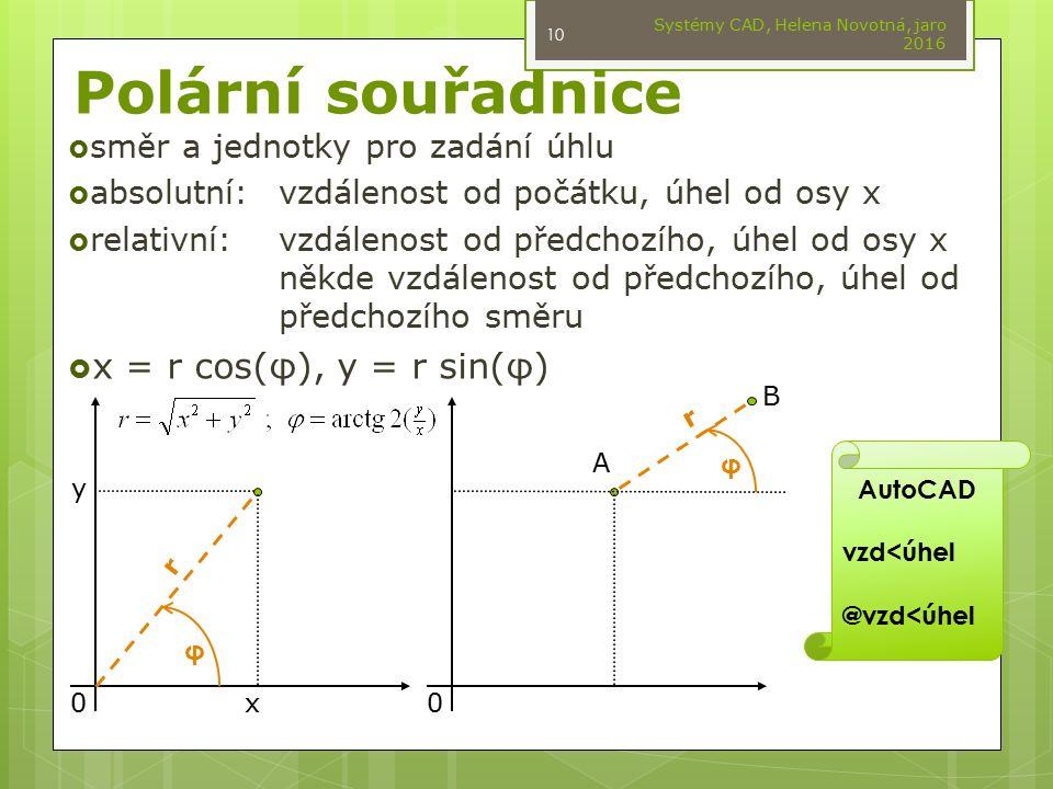 Polární souřadnice Systémy CAD, Helena Novotná, jaro 2016 10  směr a jednotky pro zadání úhlu  absolutní:vzdálenost od počátku, úhel od osy x  rela
