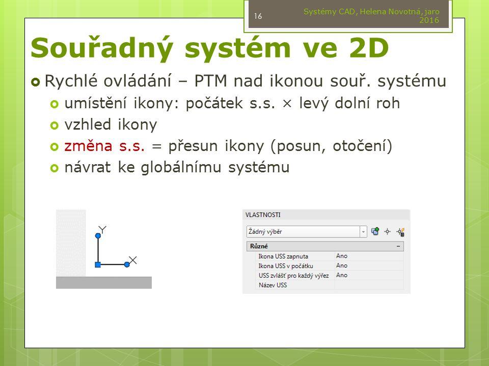 Souřadný systém ve 2D  Rychlé ovládání – PTM nad ikonou souř. systému  umístění ikony: počátek s.s. × levý dolní roh  vzhled ikony  změna s.s. = p