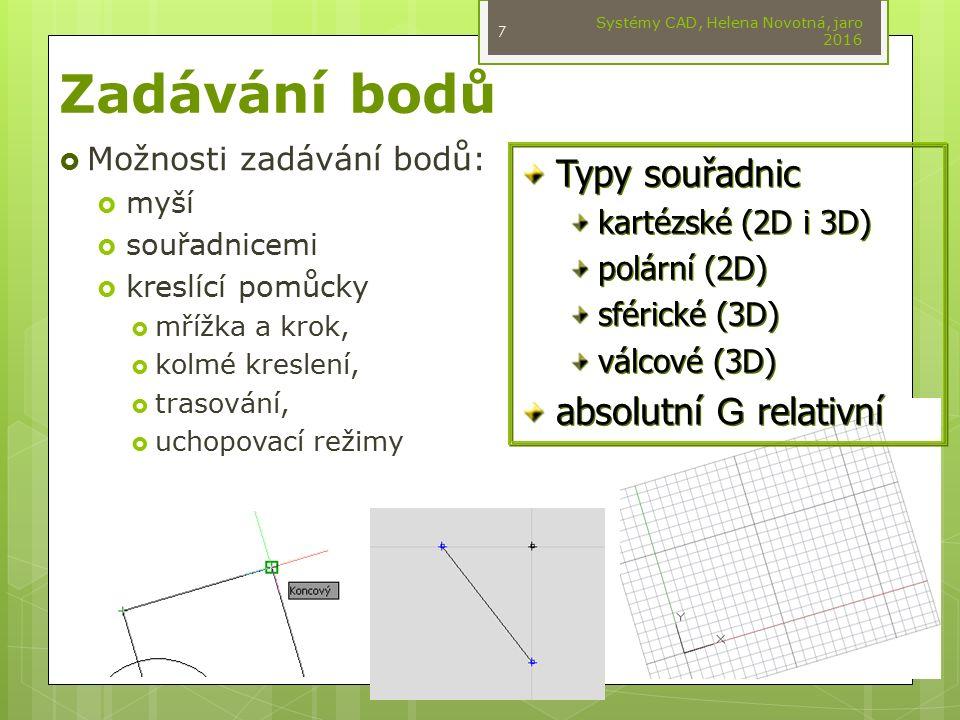  Možnosti zadávání bodů:  myší  souřadnicemi  kreslící pomůcky  mřížka a krok,  kolmé kreslení,  trasování,  uchopovací režimy Systémy CAD, He