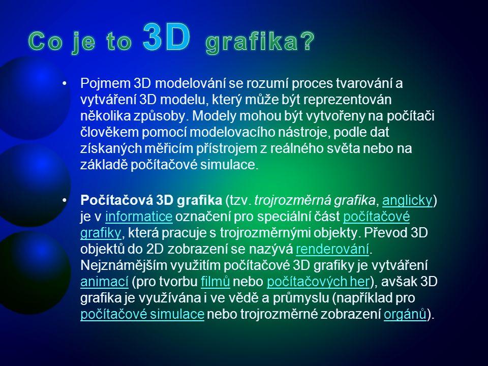 Pojmem 3D modelování se rozumí proces tvarování a vytváření 3D modelu, který může být reprezentován několika způsoby. Modely mohou být vytvořeny na po